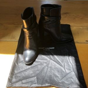 Saint Laurent hunting 105 black leather boots 36.5